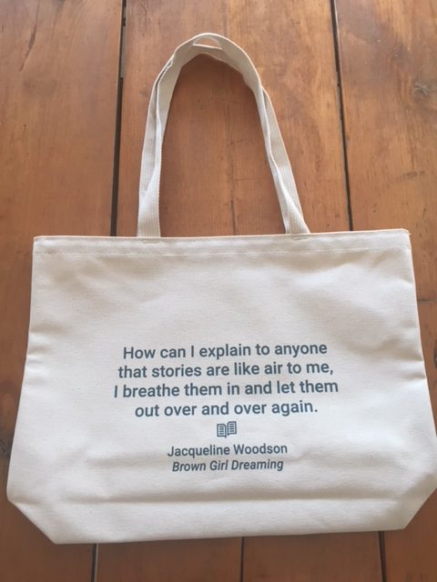 Tote bag with literary quote from Jacqueline Woodson