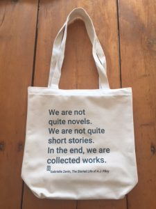 Tote bag with literary quote from Gabrielle Zevin